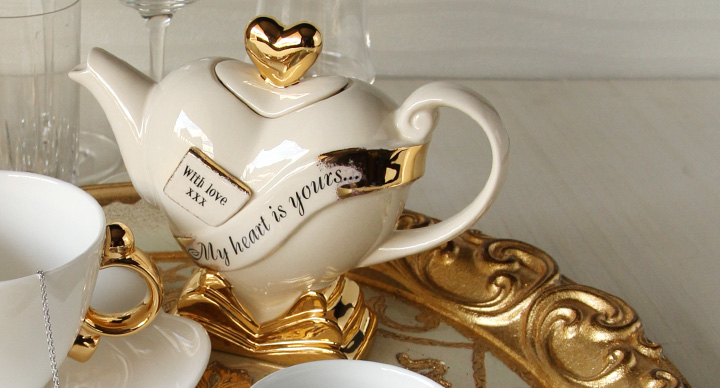 ティーポッタリー Teapottery ハート(ホワイト×ゴールド) S