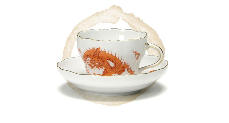 マイセン(Meissen) ドラゴン レッド 330510/00582 コーヒーカップ&ソーサー 200cc
